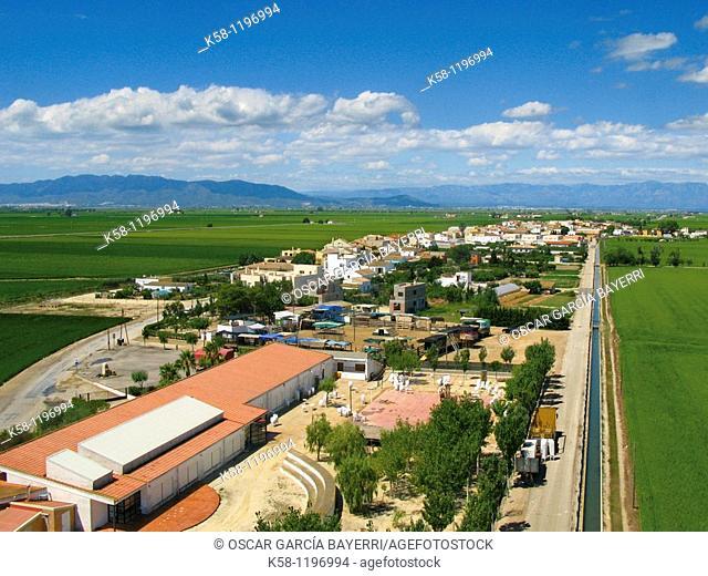 Aerial photography of the Ebro delta. Catalonia, Spain