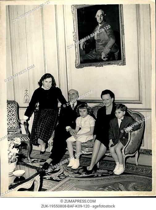 Aug. 08, 1955 - French Ambassador at London residence: The new French Ambassador to London, M.Jean Chauvel, and his wife were at home to the press at their...