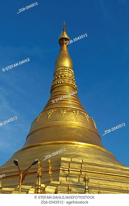 Stupa of the Shwedagon Pagoda in the Twilight in Rangoon, Myanmar