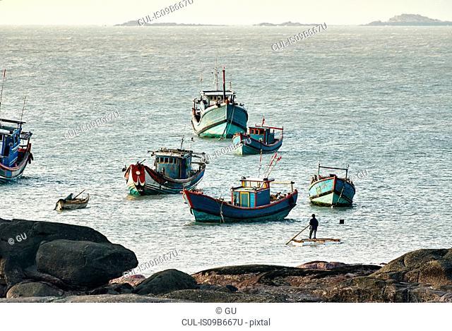Fishing boats anchored near waterfront, Dazuo, Fujian, China