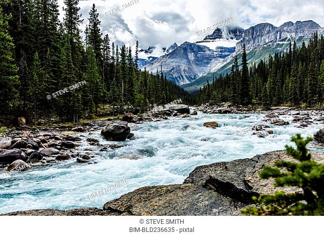 River rapids flowing near mountain