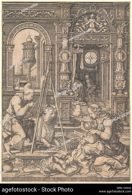Saint Luke Painting the Virgin. Artist: Dirck Vellert (Netherlandish, Amsterdam (?) ca. 1480/85-ca. 1547); Date: 1526; Medium: Engraving; Dimensions: Sheet: 6...