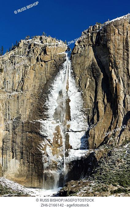 Ice-covered upper Yosemite Falls in winter, Yosemite National Park, California USA