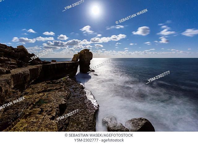 Pulpit Rock on the Isle of Portland at moonlight, Dorset, England, United Kingdom, Europe