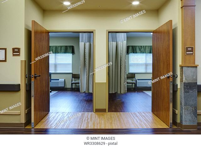 Empty patient rooms in assisted living facility