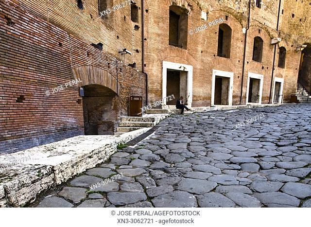 Trajan's Market from Via Biberatica street, Trajan's Market, Mercati di Traiano, Via dei Fori Imperiali, Rome, Lazio, Italy, Europe