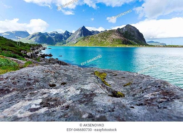 Beautiful scandinavian landscape with meadows, mountains and fjords. Lofoten islands, Norway