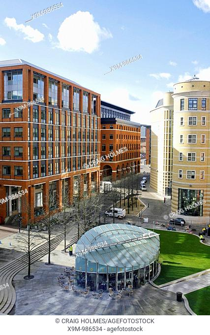 The Central Square at Brindleyplace, Birmingham, UK  Surrounded by buildings  Multi use development in Birmingham