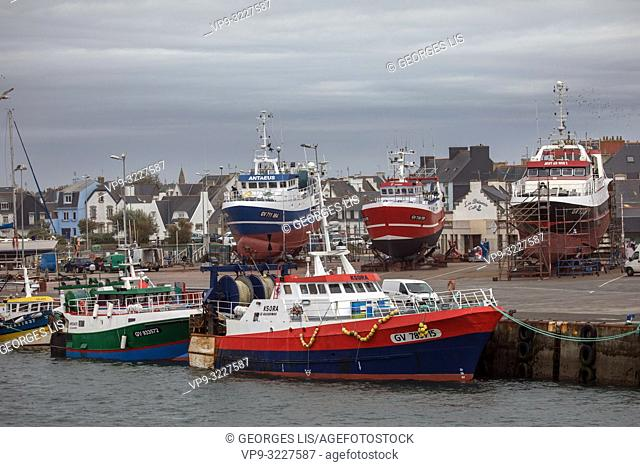 trawler fishing boats, Le Guilvinec port, Finistere, Bretagne, France