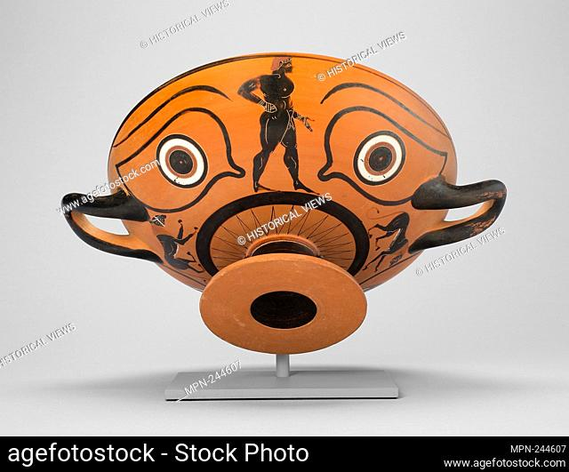 Kylix (Drinking Cup) - 530/520 BC - Greek; Athens Attributed to the Workshop of Nikosthenes - Artist: Ancient Greek, Date: 530 BC–520 AD, Medium: Terra-cotta