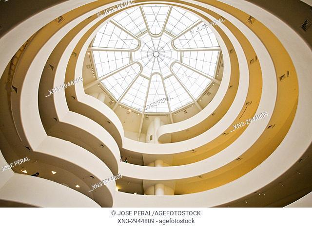 Interior view of Guggenheim Museum or Solomon R. Guggenheim Museum, by architect Frank Lloyd Wright, Fifth Avenue, Manhattan, New York City, New York, USA