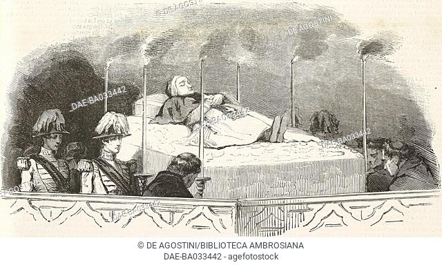 Pope Gregory XVI (1765-1846) lying in state in the Sistine Chapel, Vatican City, illustration from L'Illustration, Journal Universel, No 173, Volume VII
