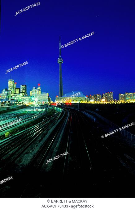 CN Tower and Skyline at dusk, downtown, Toronto, Ontario, Canada