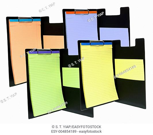 Clip Boards with Note Pads on White Background