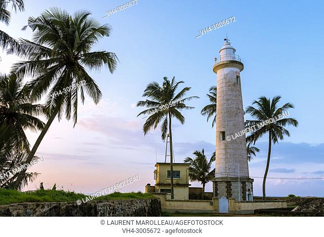 Lighthouse and Palm Trees in Galle Fort at Sunrise, Old Town of Galle and its Fortifications, Southern Province, Sri Lanka, Asia