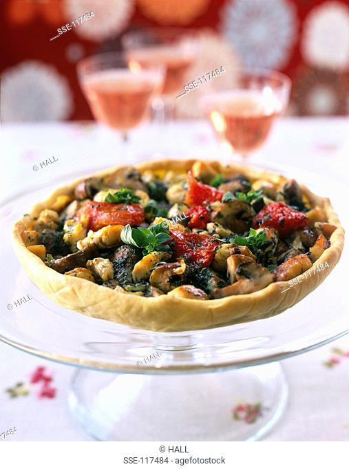 Chicken,vegetable and herb tart