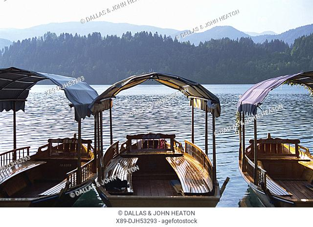 Slovenia, Bled, Lake Bled, Boats