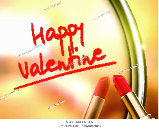 happy valentine words written by red lipstick