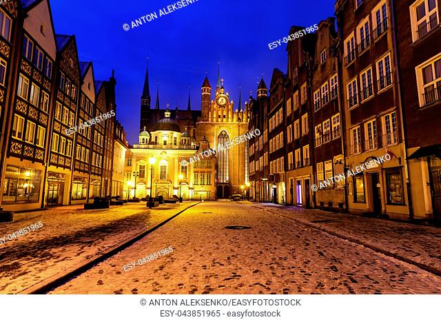 St Mary's Church and Royal Chapel of Gdansk, night winter view, Christmas time, Poland
