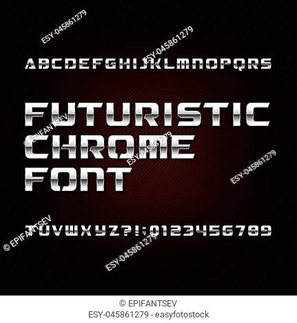 Futuristic chrome alphabet font. Metallic effect letters and numbers on a dark background. Stock vector typeface for your design