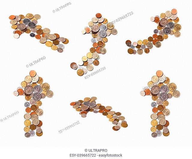 different arrows of coins on white background