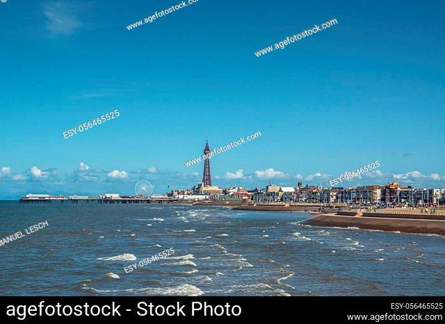 Coast of Blackpool England in Summer