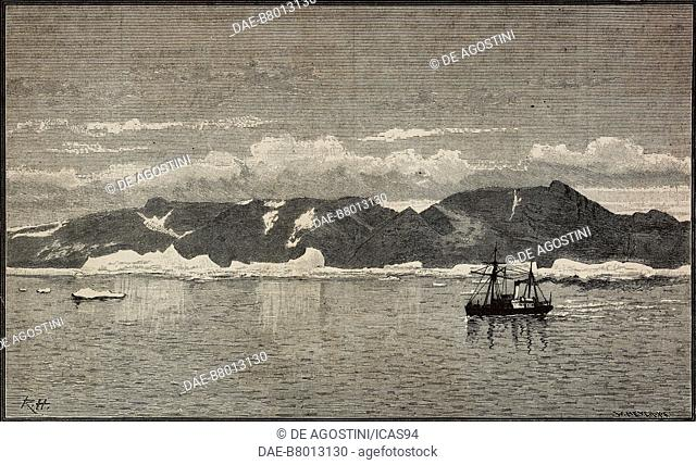 View seen from the eastern coast, south of King Oscar Fjord, Professor A S Nordenskjold Expedition to Greenland, engraving by W Meyer from L'Illustrazione...