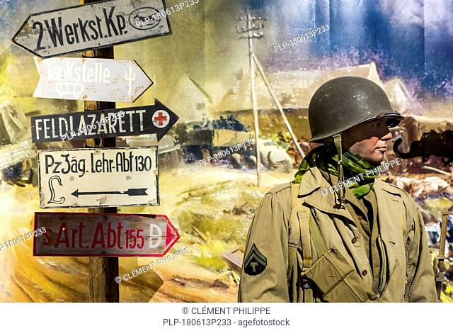 Diorama with American WWII soldier in the Overlord Museum near Omaha Beach about WW2 Allied landing during D-Day, Colleville-sur-Mer, Normandy, France