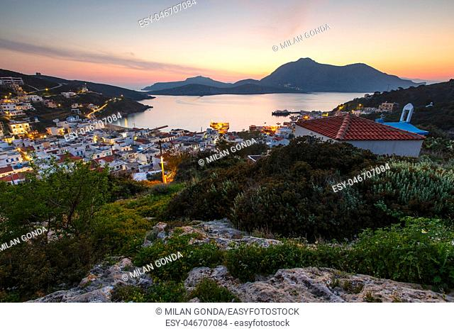 View of the main village of Fourni island, Greece.