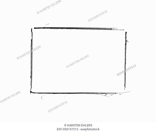 Hand painted sketch of empty frame made with black pencil