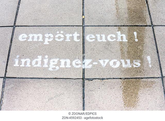 time for outrage, indignez-vous, graffito