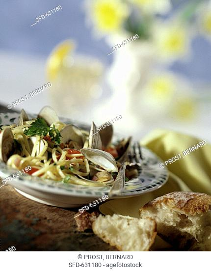 Clams over Linguine
