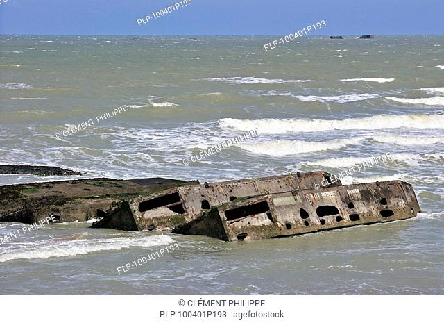 Concrete boxes, known as Phoenix caissons, in the sea were used as breakwater and to form an improvised harbour, Mulberry harbour