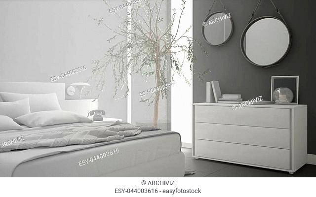 Unfinished project of minimalistic modern bedroom, sketch abstract interior design