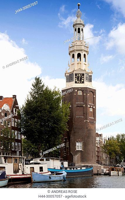 The Montelbaanstoren Tower at the Waalseilandsgracht, Amsterdam, Holland, Netherlands