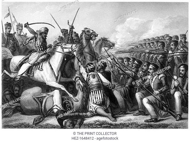 'Mutineer cavalry attacking an infantry square at the Battle of Cawnpore', 1857, (c1860). Battle during the period of East India Company rule in what is now...