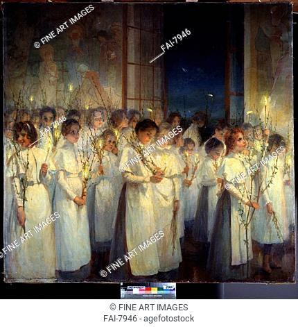 The Palm Sunday. Blonskaya, Serafima Nasonovna (1870-1947). Oil on canvas. Russian Painting, End of 19th - Early 20th cen. . 1900