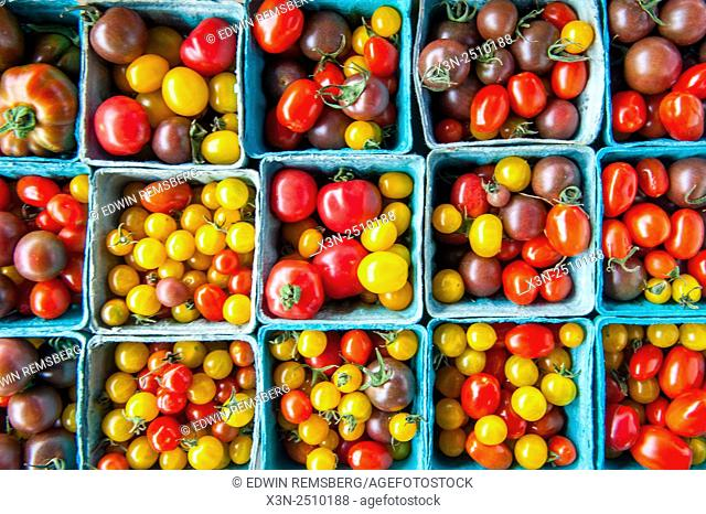 Containers of locally grown tomatoes