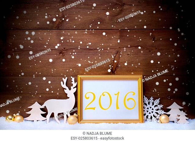 Christmas Card With Picture Frame On White Snow. Text 2016 For Happy New Year. White Decoration Like Snowflakes, Tree, Golden Balls And Reindeer