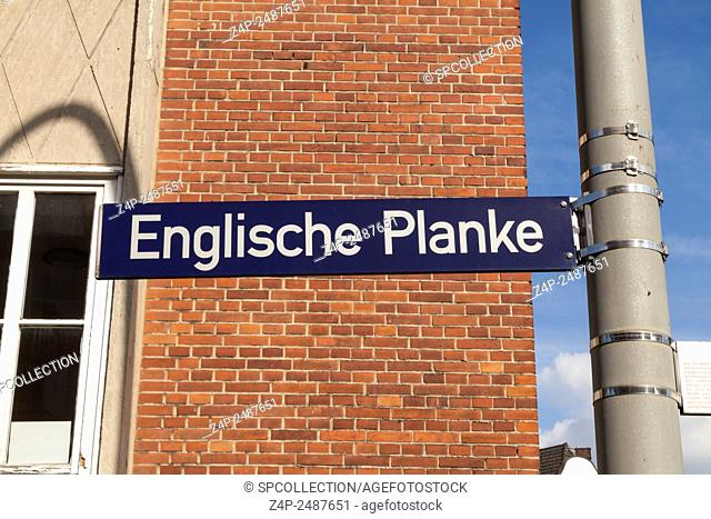 Englische Planke road sign in Hamburg