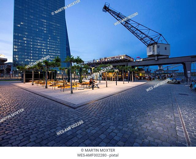 Germany, Hesse, Frankfurt, Ostend, bar and European Central Bank