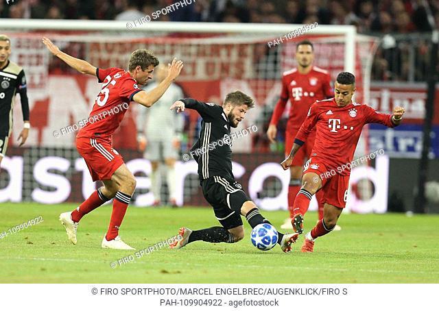 firo: 02.10.2018 Fuvuball, Football: Uefa Champions League, CL Season 2018/2019 Group Stage, First leg FC Bayern Munich - Ajax Amsterdam, Thomas Mvºller