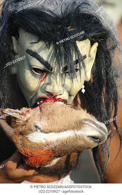 Panjim, Goa, India: man in costume at the Carnival