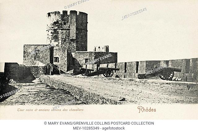 Island of Rhodes, Greece. Black Tower and ancient Knights Cannon