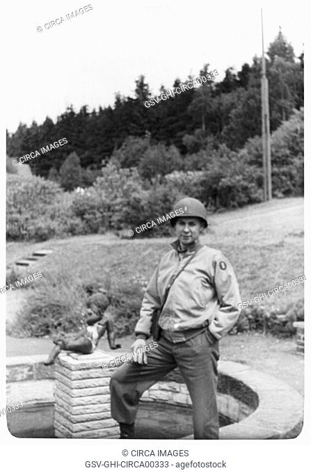 Soldier near Fountain, Portrait, WWII, Third Army Division, US Army Military, Europe, 1943