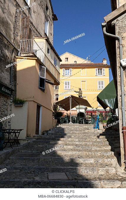 An ancient stone flight of steps in the alleys of the old town Corte Haute-Corse Corsica France Europe