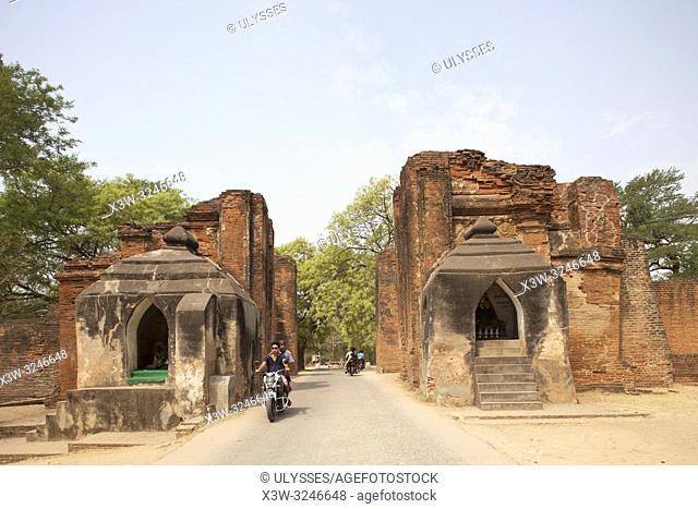 Tharabar gate and walls, Old Bagan village, Mandalay region, Myanmar, Asia
