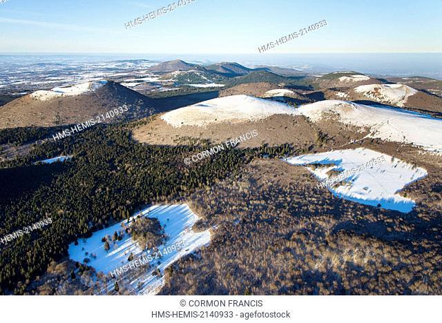 France, Puy de Dome, Ceyssat, Chaine des Puys, Regional Natural Park of the Auvergne Volcanoes (aerial view)