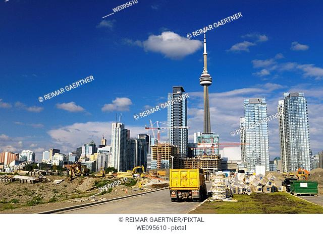 Construction and new condo development beside the city core of Toronto Canada