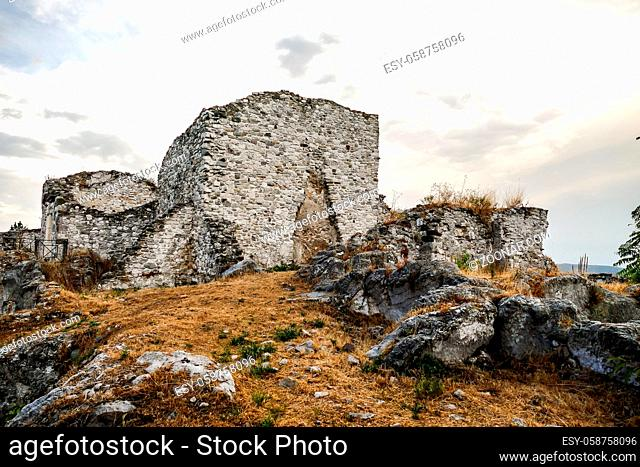 Old Gessopalena town public archeological site of the old medieval village in gypsum stone